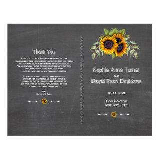 Rustic Watercolor Sunflowers Chalk Wedding Program