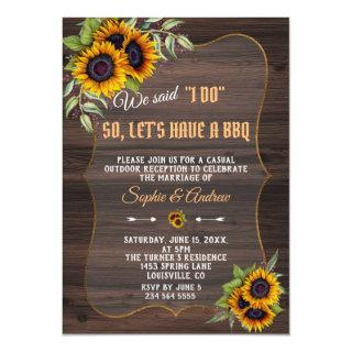 Rustic Watercolor Sunflowers Wood Wedding I DO BBQ Invitations