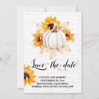 Rustic Watercolor White Pumpkin and Sunflower Save The Date