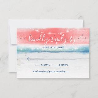 Rustic Watermelon Elegant Watercolor Wedding RSVP Card