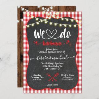 Rustic We do Barbecue Engagement invitations