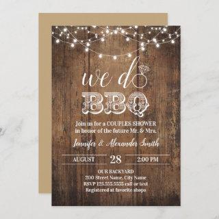 Rustic we do BBQ couples shower Invitation
