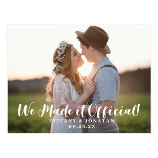 Rustic We Made it Official Elopement Announcement Postcard