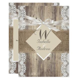 Rustic Wedding Beige White Lace Wood Burlap 2 Invitations