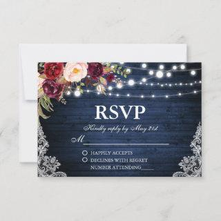 Rustic Wedding Blue Wood Lights Lace Floral RSVP
