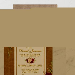 Rustic Wedding Burlap Burgundy Wedding Invite