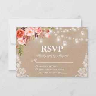 Rustic Wedding Coral Floral Lights Jars Kraft RSVP