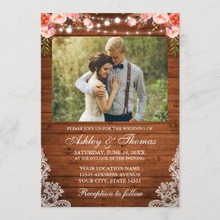 Rustic Wedding Coral Floral Wood Lights Lace Photo Invitations