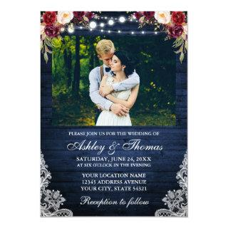 Rustic Wedding Floral Blue Wood Lights Lace Photo Invitations