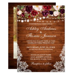 Rustic Wedding Floral Lace Wood Photo Invitation