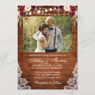 Rustic Wedding Floral Wood Lights Lace Photo Invitation
