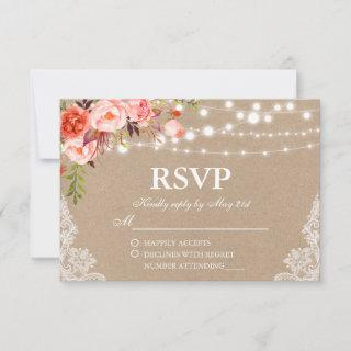 Rustic Wedding Kraft Coral Floral Lights Lace RSVP