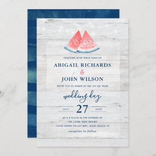Rustic Wedding Navy Coral Watercolor Watermelon Invitation