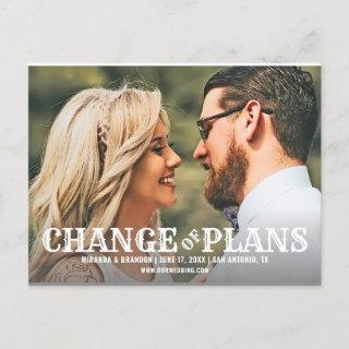 Rustic Wedding Photo Change of Plans Announcement Postcard
