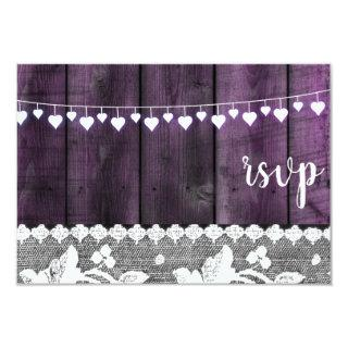 rustic wedding rsvp - wood, lace ,string hearts invitation