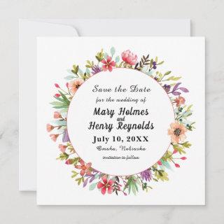 Rustic Wedding Watercolor Wildflowers Save The Date