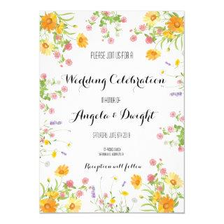 Rustic wedding wild flower bouquet Invitations