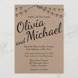 Rustic Wedding with String Lights on Kraft Paper Invitations