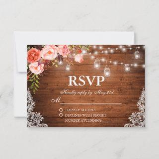 Rustic Wedding Wood Coral Floral Lights Jars RSVP