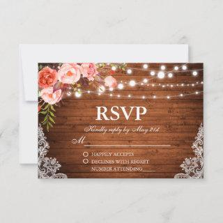 Rustic Wedding Wood Coral Floral Lights Lace RSVP
