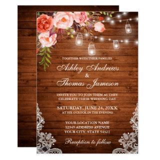 Rustic Wedding Wood Lights Jars Lace Coral Floral Invitations