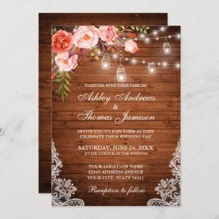 Rustic Wedding Wood Lights Jars Lace Coral Floral Invitation