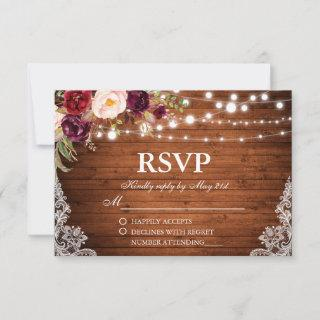 Rustic Wedding Wood Lights Lace Floral RSVP