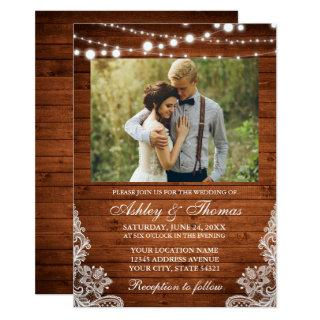 Rustic Wedding Wood Lights Lace Photo Invitations