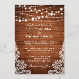 Rustic Wedding Wood String Lights Lace