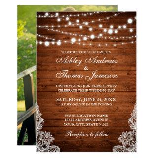 Rustic Wedding Wood String Lights Lace Invite P
