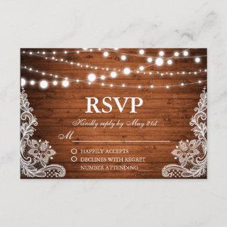 Rustic Wedding Wood String Lights Lace RSVP