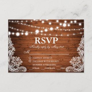 Rustic Wedding Wood String Lights Lace RSVP w/Meal