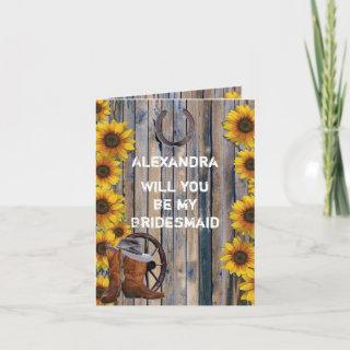 Rustic western country will you be my bridesmaid Invitations