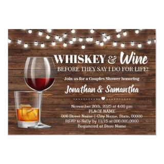 Rustic whiskey & wine before I do couples shower Invitations