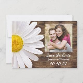 Rustic White Daisy Wood Photo Wedding Save Date Announcement