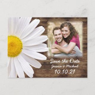 Rustic White Daisy Wood Photo Wedding Save Date Announcement Postcard