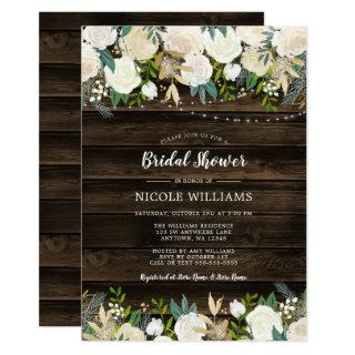 Rustic White Floral String Lights Bridal Shower Invitations