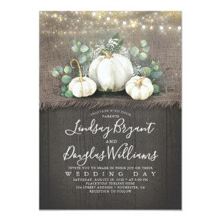 Rustic White Pumpkin and Baby's Breath Wedding Invitations