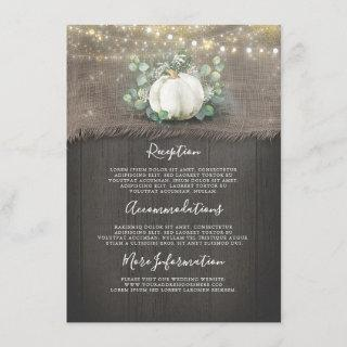 Rustic White Pumpkin Wedding Details Information Enclosure Card