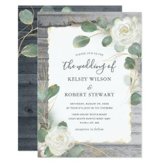 Rustic White Rose Gold Floral Greenery Wedding Invitation