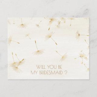 Rustic Will You Be My Bridesmaid Dandelion Ivory Invitations Postcard