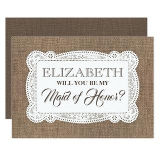 Rustic Will You Be My Maid of Honor | Bridesmaid Invitations
