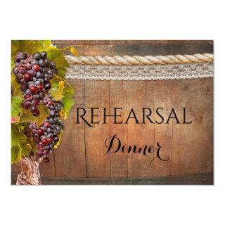 Rustic Wine Themed Rehearsal Dinner Invitations
