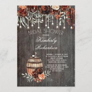 Rustic Winery Floral Lights Burgundy Bridal Shower Invitations