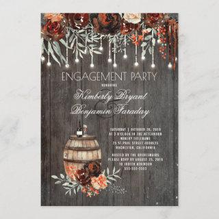 Rustic Winery Floral Lights Engagement Party