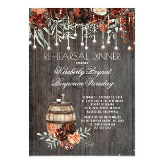 Rustic Winery Floral Lights Rehearsal Dinner Invitation
