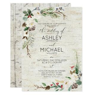 Rustic Winter Birch Calligraphy Botanical Wedding Invitations