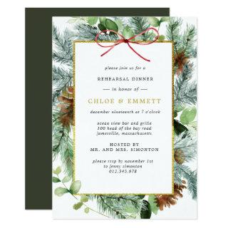 Rustic Winter Botanical Pine Rehearsal Dinner Invitation