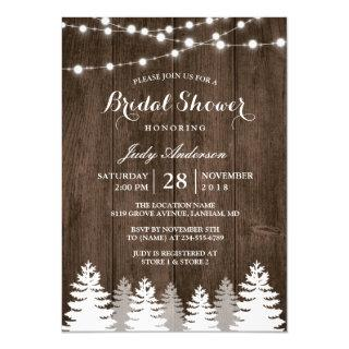 Rustic Winter Bridal Shower String Light Pine Tree Invitation