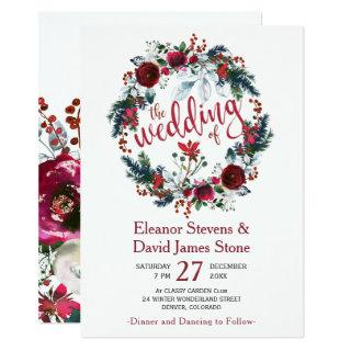 Rustic winter burgundy floral wreath wedding invitation